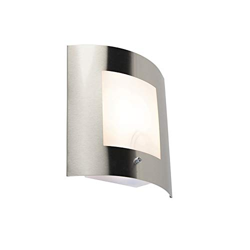 QAZQA Modern Buitenwandlamp staal IP44 licht-donker sensor - Emmerald 1 Kunststof/Roestvrij staal (RVS) Rechthoekig Geschikt voor LED Max. 1 x 40 Watt