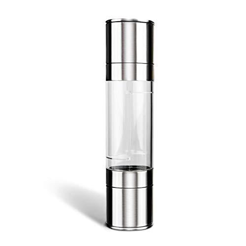 PGFUN Top Manual de Acero Inoxidable 2in1 Sal y Pimienta de Molinillo Rotor cerámico Cuerpo de acrilico Condimentar con Sal y Pimienta Molino de Cocina Accesorios de Cocina Herramienta