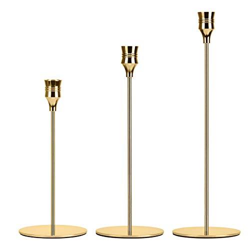 3 juegos de candelabros de diferentes tamaños, candelabros de 24/29/34 cm, velas cónicas, candelabros retro, candelabros para decoración de mesa...