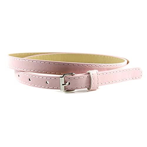 Cinturones delgados para mujer, cinturones de cinturones de piel de imitación de caramelo femenino fino flaco de cintura ajustable. DFKE (Color : Pink, Size : One size)