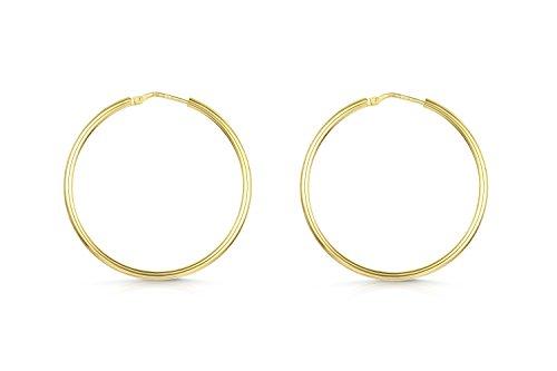 Amberta 925 Sterling Silber - Vergoldet 18K - Edle Ringe mit Scharnierbügel – Kleine Runde Creolen Ohrringe - Durchmesse: 35 mm