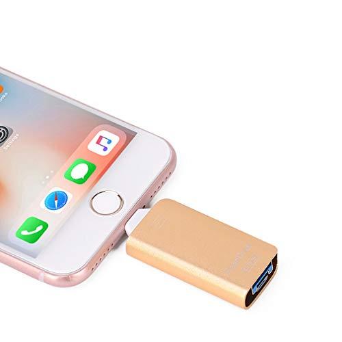 Unidades flash USB para iPhone [3 en 1] OTG Jump Drive, unidades de pulgar externas Micro USB Memoria Pen Drive, USB 3.0 Flash Memory Stick para iPhone, iPad, iOS, Android, PC (256 GB, oro)