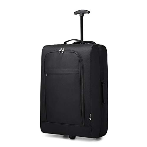 Kono 20 inch Hand Luggage Double Wheel Carry-on Suitcase Soft 600D Lightweight Cabin Travel Case (V Black)