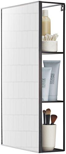 UMBRA Cubiko Mirror. Miroir et étagère de rangement en métal. Pour salle de bain ou entrée, idéal pour les petits logements. Coloris noir.