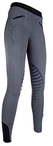 HKM Reitleggings -Starlight- Silikon-Kniebesatz, grau Melange/schwarz, 40
