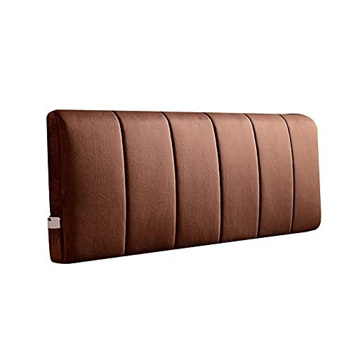 Cojín de Cabecera Cama, Posicionamiento Apoyo Lumbar Almohadas Único Doble Respaldo con Lado Bolsillos y Lavable Cubrir por Mirando Leer, Personalizable (Color : Brown, Size : B-200x60cm)