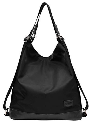 Maysurban Damen Schultertasche Nylon Handtasche Rucksack 2 in 1 Leichte Shopper Anti-Diebstahl Damentasche für Alltag Business Urlaub