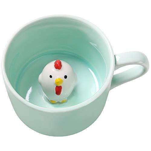 3D-Kaffeetasse mit Küken-Motiv, handgefertigt, Keramik, für Weihnachten, Geburtstag, Überraschung für Freunde, Familie oder Kinder, 227 ml