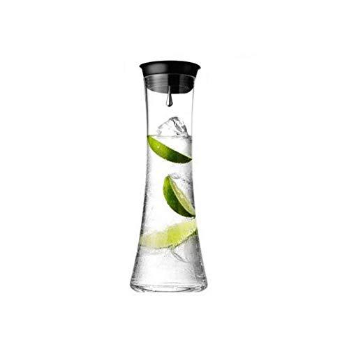 HJYSQX Jarra de Vidrio Resistente al Calor de 1.0 l/litro con Tapa, Jarra de Vidrio de Jarra, Jarra de té Helado, Jarra de Jugo, Jarra de Vidrio para Jugo Caliente/frío, té, Leche y café, (Olla