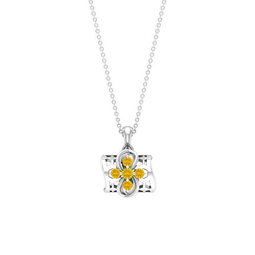 1/2 CT Gold Drop Pendant Necklaces, Gemstone Cluster Necklaces, Lab Created Yellow Sapphire Pendants, Flower Pendant Necklace for Women (AAAA Quality),10K White Gold