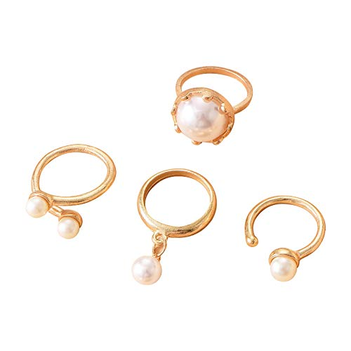 minjiSF Set di anelli in oro bianco con perle bianche coltivate in acqua dolce di alta qualità, set regalo da donna squisito gioiello San Valentino 4PC (oro)