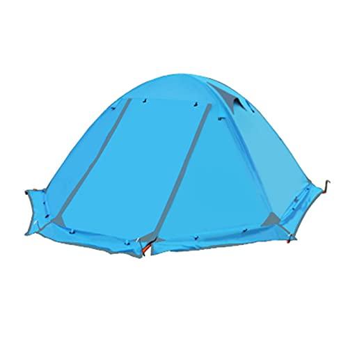 Tenda da Campeggio 2-3 Persone Doppia Asta in Alluminio Anti-Tempesta,Blue