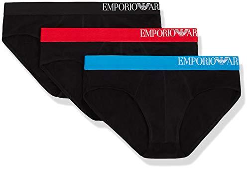 Emporio Armani Underwear Multipack - B-Side Logo 3-Pack Brief Boxer, Nero (Nero/Nero/Nero 50620), X-Large Uomo