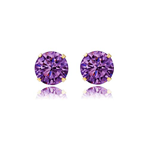 9ct yellow gold 5mm round Amethyst crystal Andralok stud earrings/Gift box