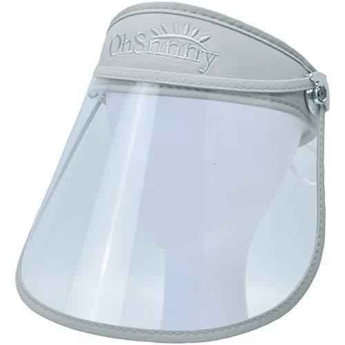 T WILKER レインバイザー サンバイザー 折りたたみ可能 透明バイザー クリアな視界 フェイスガード 取り外すあご紐 サイズ調節可 通勤ラッシュ アウトドア 風雨対策 自転車 (グレー)
