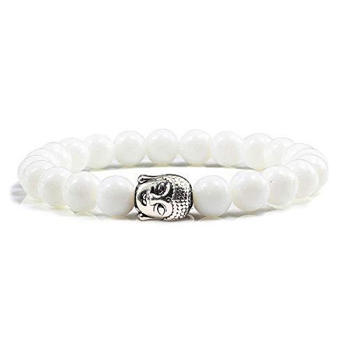 THj Pulsera, Pulsera Unisex, Pulseras de Perlas de turquesas de Piedra Natural de 8 mm, brazaletes de Yoga de oración de Buda de Plata de Moda con Caja de Regalo, Color Blanco