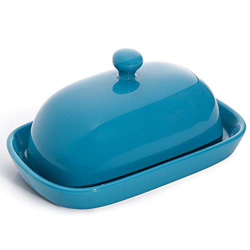 Sweese 306.107 Porcelain Cute Butter Dish with Lid, Perfect for East/West Butter, Steel Blue