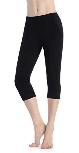 Ferrieswheel Story Women Thin Cropped Leggings Yoga Shorts Soft Under Dresses Capris Pants Fitness Black