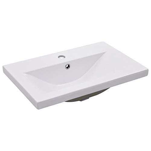 vidaXL Einbauwaschbecken Waschbecken Einbau Einsatz Waschtisch Aufsatzwaschbecken Waschplatz Handwaschbecken 61x39,5x18,5cm Keramik Weiß