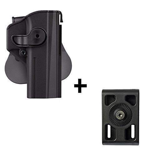 IMI CZ SHADOW 2 Holster + Belt Attachment Adapter, polymer retention 360 roto level 2 safety w trigger guard lock tactical gun holster for CZ P-09 & Shadow2 pistol handgun