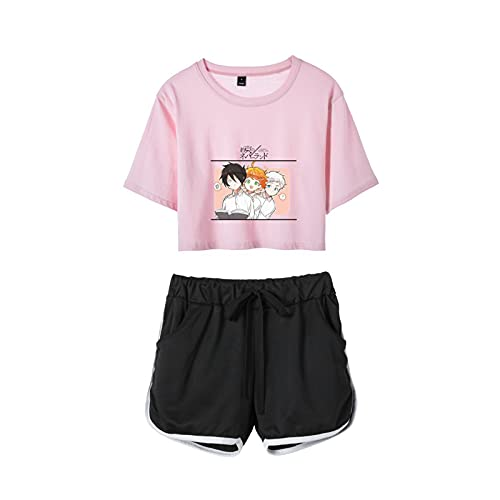 WWZY Mujer Verano Ropa Deportiva Anime The Promised Neverland Emma Norman Ray 3D Impresión Top Corto Y Pantalones Cortos Conjunto 2 Piezas para Manga Fans,Rosado,XX~Large
