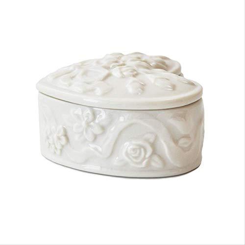 SUPERHUA creativo hecho a mano de cerámica de color sólido en relieve hueso china flor anillo de cerámica pendiente caja de almacenamiento caja de almacenamiento artesanía decoración
