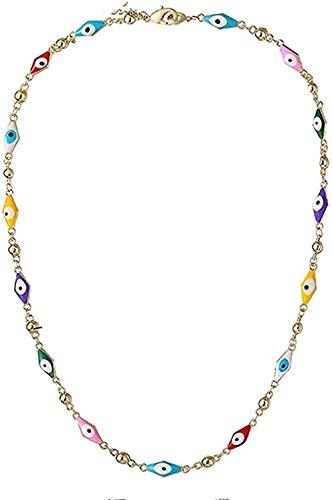 NC190 Collar de Cristal Azul, Collar con Dije de Alá para Mujeres, joyería Musulmana, Collar de Ojo Azul Turco, Collar Chapado en Oro