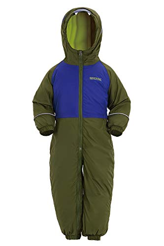 Regatta Kid's Mudplay III Waterproof And Breathable Insulated Animal All-In-One Suit, Cypress/Surf Spray, Size 18-24