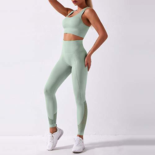 Conjunto de Sujetador y Leggings Deportivos para Mujer, Pantalones de Yoga para Ciclismo, Cintura Alta con Espalda de Corredor ahuecada para Gimnasio, Calles en casa, 2 uds.