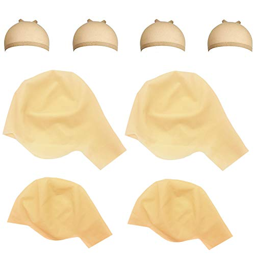 Iceyyyy 8 Piece Bald Caps Makeup Latex Bald Cap Head Wig Cap Costume Accessory for Adults Teens for Halloween, Theme Party
