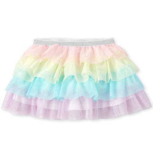The Children's Place Baby Girls' Rainbow Mesh Skirt, Whisperpnk, 5T