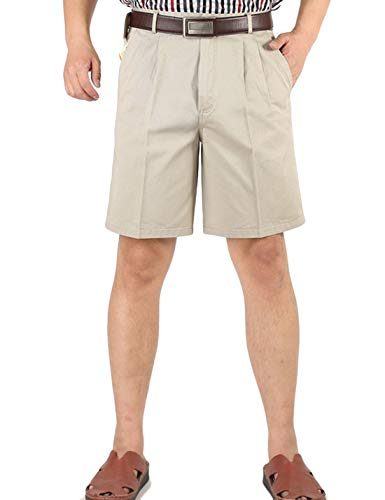 Yeokou Men's Classic Weekend Oxford Pleated Front Golf Shorts(Beige-40)