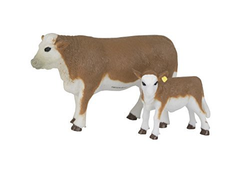 Big Country Toys Hereford Cow & Calf - 1:20 Scale - Hand Painted - Farm Toys - Farm Animal Toys
