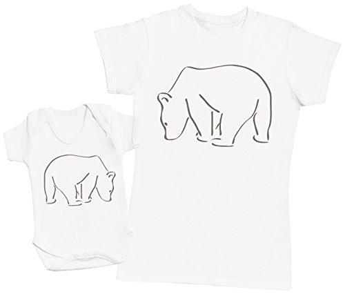 Zarlivia Clothing Bear and Mama Bear - Ensemble Mère Bébé Cadeau - Femme T Shirt & bébé Bodys - Blanc - M & 0-3 Mois