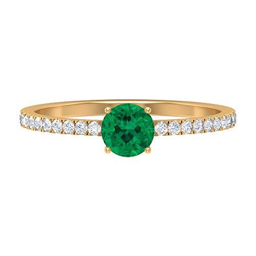 Anillo solitario de turmalina verde de 5 mm, D-VSSI, anillo de compromiso, anillo de compromiso de piedra lateral, simple anillo de oro, 14K Oro amarillo, Size:EU 63