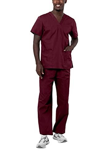 Adar Universal Unisex Pflegebekleidung - Unisex Set mit Kordelzug - 701 - Burgundy - L