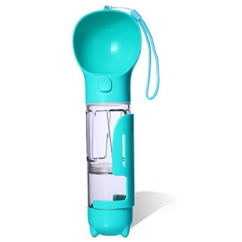 DEMESEX Hund Trinkflasche tragbare Hundwasserflasche für Unterwegs Multifunktion 300ml Wasserspender 170ml Futterbox, ideal für Hund, Katze, Outdoor, Strand,Camp, Reise,Wandern(Grün)