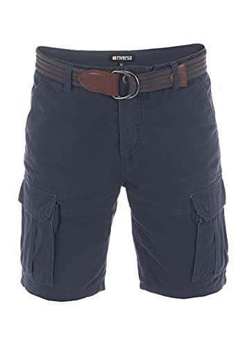 riverso Herren Cargo Shorts RIVJakob Kurze Hose Regular Bermuda 100% Baumwolle Mit Gürtel Blau w36, Größe:W 36, Farbe:Dark Blue (19400)