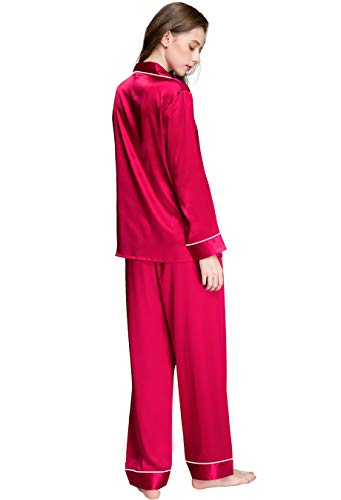 Damen Seide Schlafanzug Pyjama Rot Medium