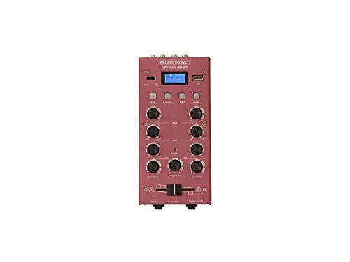 OMNITRONIC GNOME-202P Mini-Mixer rot | 2-Kanal-DJ-Mixer mit Bluetooth und MP3-Player im Miniaturformat | Regelbarer Mikrofoneingang/Kopfhörerausgang über 6,3-mm-Klinke