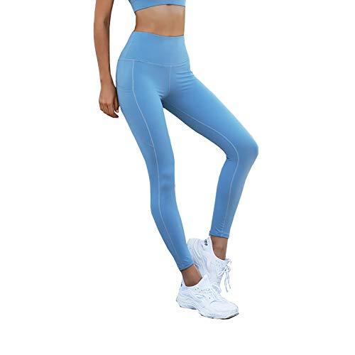 Y-H-X Pantalones de Yoga para Mujeres con Bolsillos, Cinturones de Cintura Alta, Leggings para Mujeres de Entrenamiento de Mujeres para,Azul,S