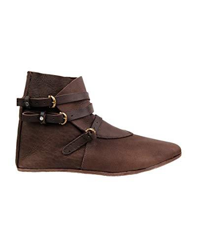 Lueyifs Herren Mittelalter Schuhe Halbstiefel Wikinger aus Rauhleder Kurzschaft Stiefel mit Schnalle