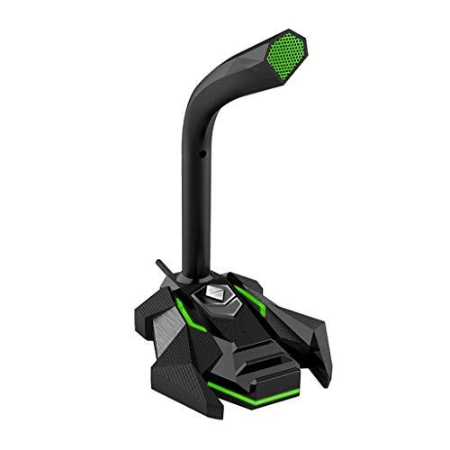 Diaod Micrófono de Condensador dinámico para Juegos con Cable USB Studio Gaming 360 PC Micrófono para computadora de Escritorio Profesional Dual Mic LED (Color : A)