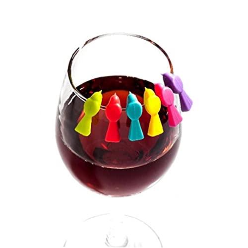 Ruluti 6 PCS Hogar Silicone Lindo Bird Vino Copa Reconocedor Marcador Festival Lavable Festival Suministros de Fiesta Aleatorio