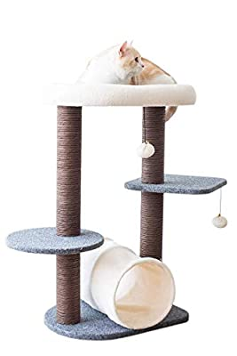 PetPals Cat Tree Cat Tower for Activity with Tunnel and Toy Ball, Gray, 17-inch L 13-inch W 29-in H