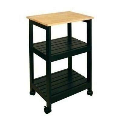 AK Energy Black Natural Finish Wooden Microwave Cart 3 Tier Storage Open Slat Shelves Utility Butcher Top Lockable Caster