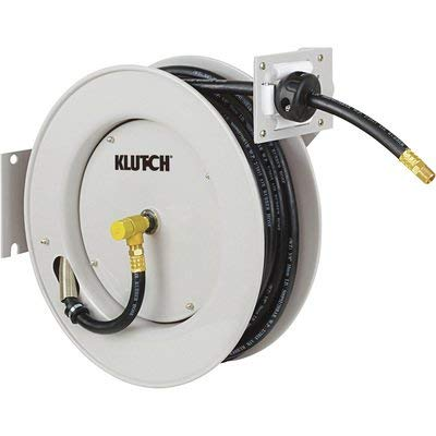 Klutch Auto Rewind Air Hose Reel - With 3/8in. x 50ft. Rubber Hose, Max. 300 PSI
