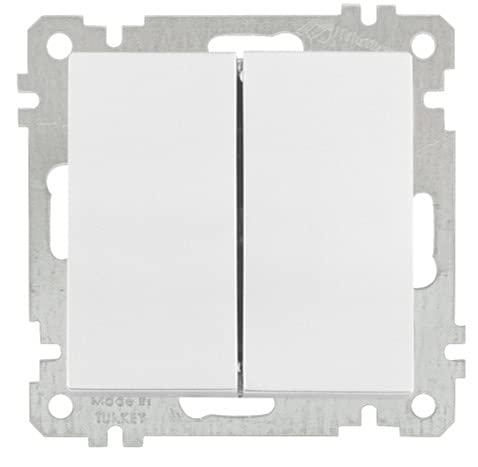 Interruptor doble de encendido/apagado, interruptor de luz blanco, interruptor doble, interruptor superior, interruptor de encendido y apagado, Mutlusan Candela