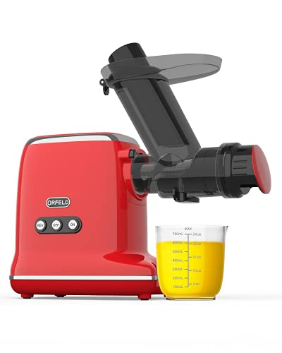 Orfeld Juicer Machines Vegetable and Fruit, Slow Masticating Juicer Extractor Easy to Clean, BPA-Free, Quiet motor and Reverse Function, Cold Press Juicer for Carrots, Oranges and Celery etc