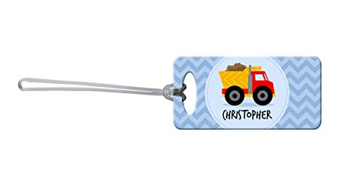Dinkleboo Dumptruck Personalized Kid's Luggage Tags Cool Kid's Bag Tags are a Perfect Addition to Any School Backpack, Travel, Sport, or Sleepover Bag!